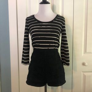 Backless Crop Top with Ruffled Stripes